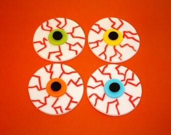 Scary HALLOWEEN EYE BALLS -  Fondant Cupcake, and Cookie Toppers - 1 Dozen