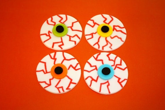 Scary HALLOWEEN EYE BALLS - Fondant Cupcake, and Cookie Toppers - 1 ...