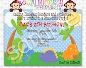 Dinosaur Theme birthday invitation or thank you card DIY - 313