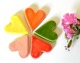 5 Rainbow Color Ceramic Hearts Pottery Pendant Eco Friendly Supplies