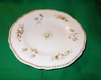 "One (1) Antique 8"" Porcelain Salad Plate from Coalport China, in a Old Coalport Pattern"