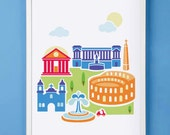 Rome Italy Art Print for Nursery or Children's Room Decor