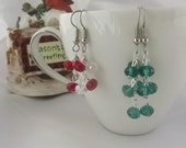 Christmas Special Red and Green Crystal Earrings