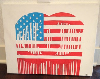 Dripping Chanel logo American flag painting