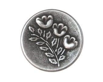 12 Triplet Flower 5/8 inch ( 15 mm ) Metal Buttons Antique Silver Color