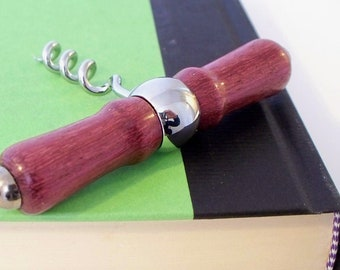 Hand-turned purpleheart wooden corkscrew