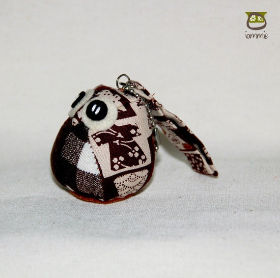 Yukata - Owl Doll with a Bag: plush, owl plush, children, kid, cute, kawaii, baby, boy, girl, kid, brown, plaid, keychain, charm, iammie