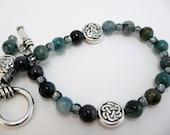 Blue Quartz Bracelet celtic beads semiprecious gemstone beadwork black shell