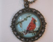 Red Cardinal Hand Painted Pendant - Free Shipping