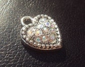 Swarovski Crystal Sterling Plated Heart Charm 1 Piece