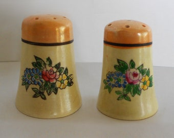 Vintage Mini Floral Salt and Pepper Shakers Japan