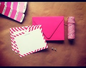 Hot Pink Candy Stripe Custom Stationery