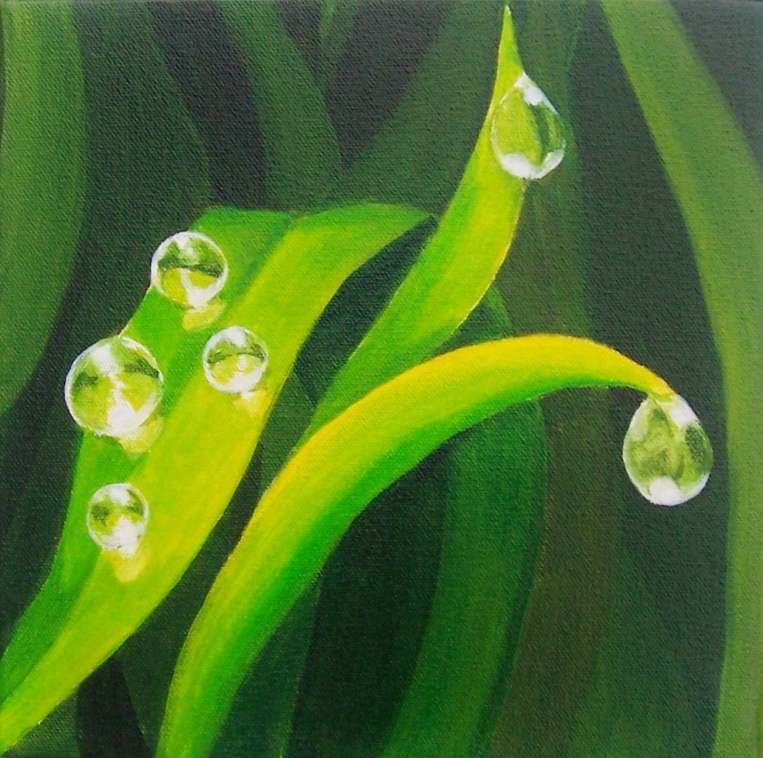 green grass painting, grass art, close up art, nature art, dewdrops painting, water droplet painting, nature close up painting, grass and dew, grass fine art, green home decor art