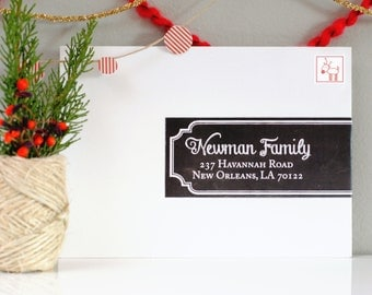 Custom Holiday wrap around Labels- Chalk-o-Lot chalkboard, black labels, holiday, Christmas, Family mailing address labels, black and white