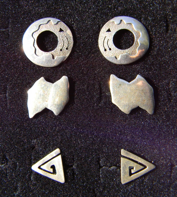 Geometric Sterling Studs: Set of 3