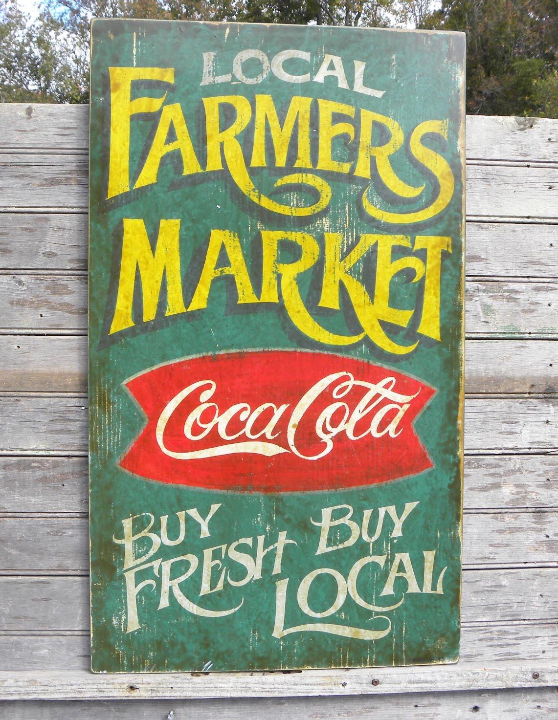 Farmers Market Sign Wooden Hand Paintedoriginalcoke