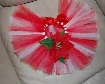 Christmas Spectaular The Candy Cane Tutu set with Poinsettia Newborn - 6 months