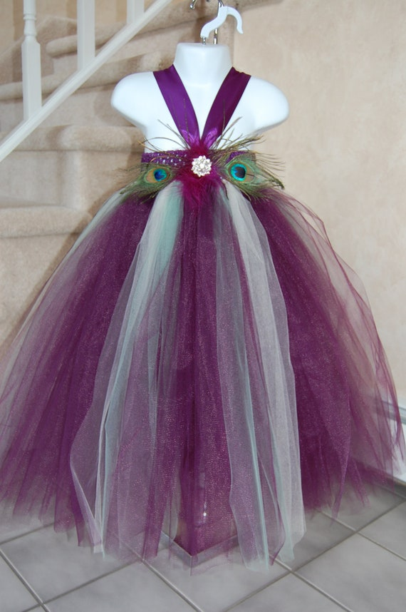 Plum, Ivory & Sage Peacock tutu dress. Plum crocheted top with eggplant/plum  and sage tulle,with broach and peacock feather embellishments.