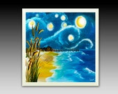 Van Gogh Starry Night Beach Ceramic Tile with Hook or Coaster