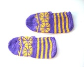 SALE Yellow purple Traditional Turkish Hand Knitted Socks / Slippers, womens slippers, mens slippers, easter gift ideas, house shoes
