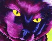 Black Cat Art Limited Edition 8x10 art print 11x14 Art Print Reproduction Pop Art Painting Purple Cat Painting Animal Illustration