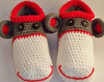 Mens Adult Sock Monkey Slippers