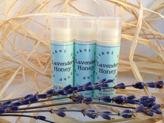 LIP BUTTER - Lavender Honey All Natural Lip Butter - lip balm - lavender