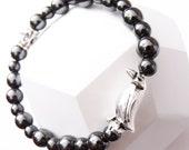 Hematite Beads and Metallic Penguin Charm Unisex Bracelet