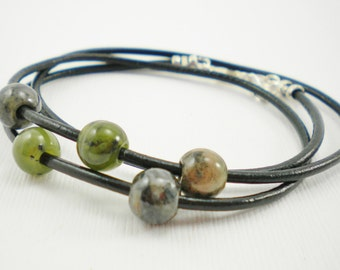 Chinese Jasper Stone Leather Wrap Bracelet / Sterling and Leather / B4