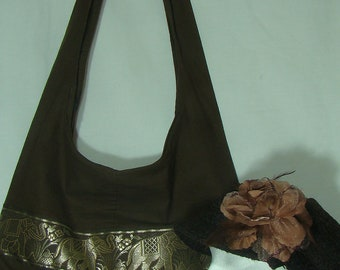 Hobo Shoulder Bag with FREE Cap (Brown),E4