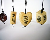 Custom listing - pendant with a Japanese kanji of your choice, different shapes