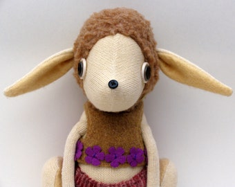 SALE  -  Sheepy Creature - Woollen body with felt ears and boots - wearing woollen top and velour pants.