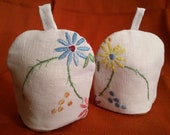 Pair of EGG COSIES with Beautiful Vintage Hand Embroidery