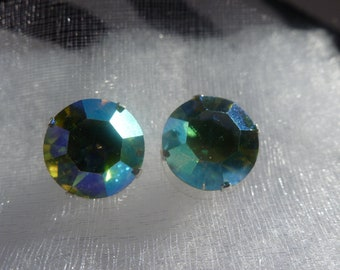 Chrysolite AB Stud Earrings (10mm) - made with Swarovski Elements