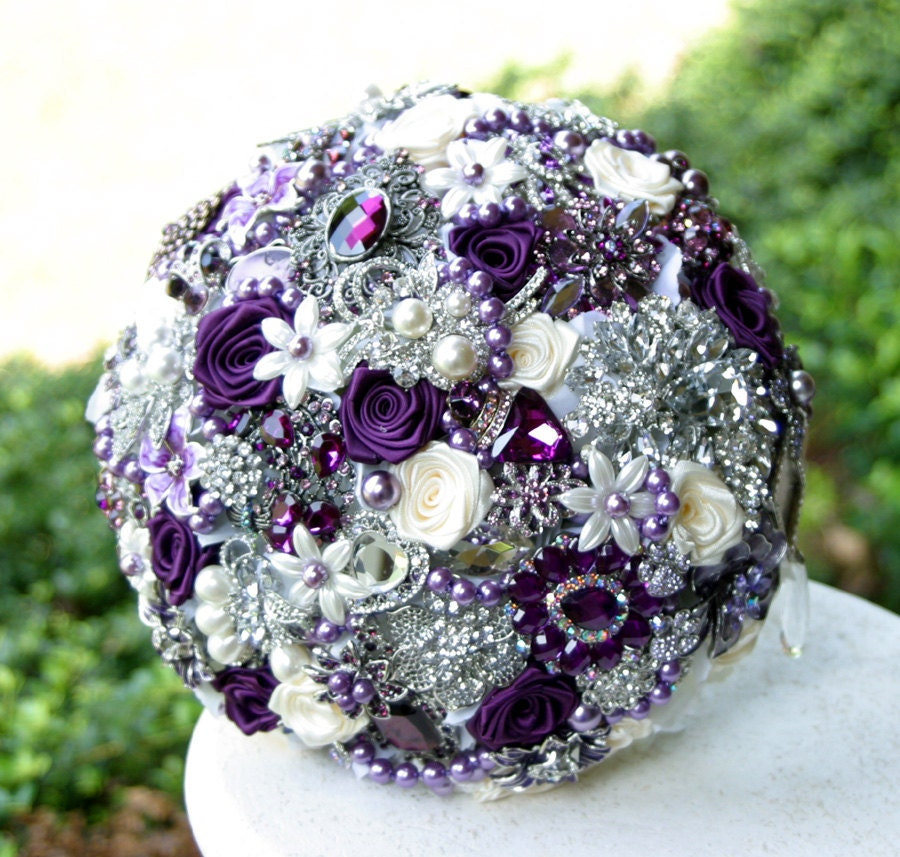Bridal Bouquet Brooches : Purple teal wedding brooch bouquet deposit on by annasinclair