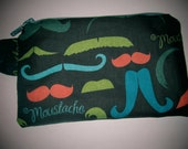 Upcycled Moustache Zipper Pouch