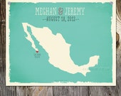 Mexico Custom Wedding Print Destination Wedding Gift Memento Couple print alternative Signature Guest Books Mexican Map