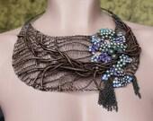 ENCANTADO Statement Bib Extravagant Necklace/ Copper Wire Crocheted Necklace with Swarovski/ Violet Large Unique Bib Necklace. Made to order