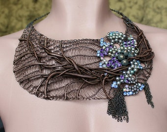 ENCANTADO Statement Bib Extravagant Necklace/ Copper Wire Crocheted Necklace with Swarovski/ Violet Large Unique Bib Necklace. Made to order
