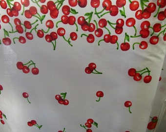 "Poly Cotton Print Cherries on White Background 60"" Fabric by the Yard - 1 Yard"