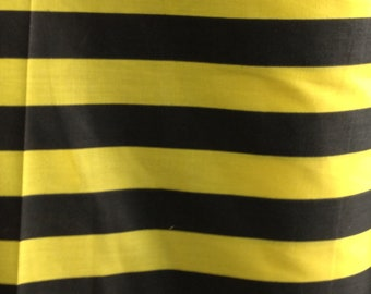 "Poly Cotton Print 1 inch Stripes Black and Yellow 60"" Fabric by the Yard - 1 Yard"