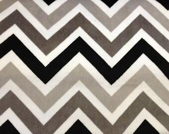 Minky cuddle Chevron Zig Zag Black, Silver & White 58 Inch Fabric by the Yard, 1 yard.