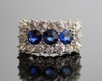 Antique Ring - Antique Sapphire and Diamond Ring - 14K Yellow and White Gold