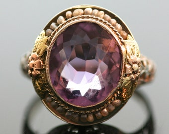 Antique Ring - Antique 14k Tri-Tone Amethyst and Seed Pearl Ring