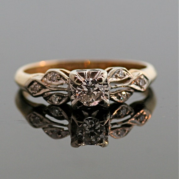 antique engagement ring 14k and 18k gold by thecoppercanary