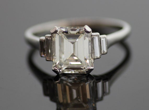 Vintage Platinum Emerald Cut Diamond Engagement Ring with Baguettes