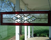 Stained Glass Panel Window Transom with Red & Bevels