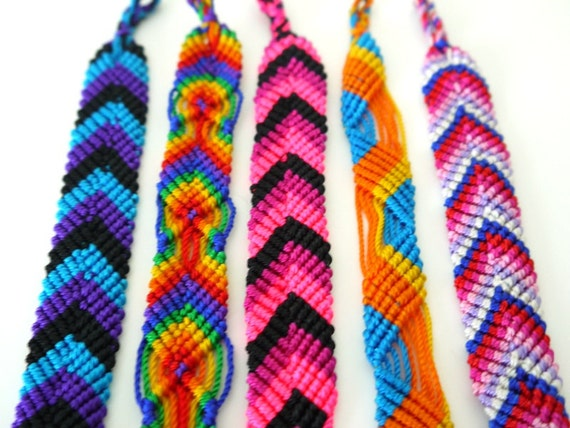Friendship Bracelets, South American, Bright Colors, SET OF 5