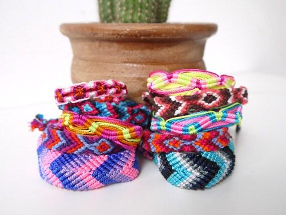 Friendship Bracelets, Mixed Set of Braided Bracelets, Bright Colors, 10 Pack