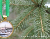 Ornament - Lobster Boats at Sunset Christmas Tree Ornament featuring image of a Maine Harbor set in Gold Charm
